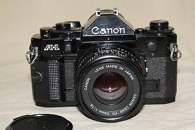 CANON A-1 35mm CAMERA WITH FDn 50mm 1:1.8 LENS NEW LIGHT SEALS VERY GOOD++ 7104