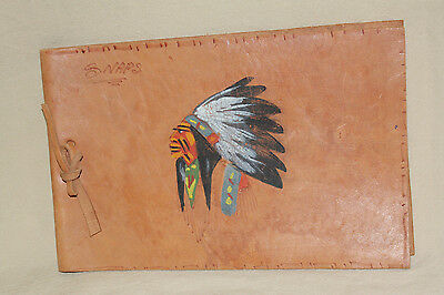 Vintage Leather Hand Painted Photo Album Cover 7121