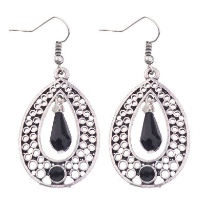Fashion Bohemian Style Ethnic Hollow Black Drop Dangle Women's Earrings