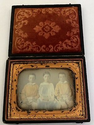 Cased Quarter Plate Daguerreotype Young Twin Boys & Sister With Book in Her Lap