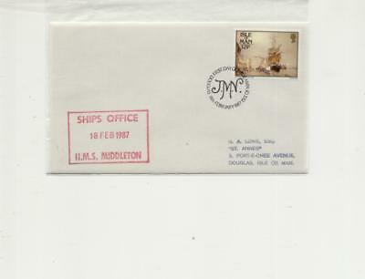 Isle of Man 1987 FDC with HMS Middleton Ships Office Cachet
