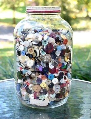 BUTTONS LOT Jar of Vintage Buttons 7lbs Collection of Old Buttons Button Sewing