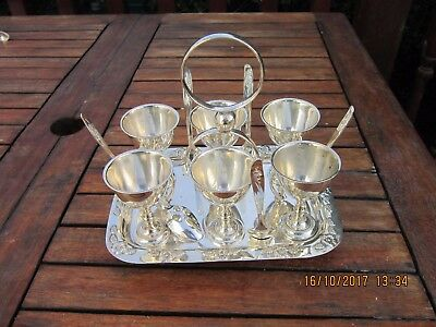 Vintage 6 Egg Cup Set Silver Plated On Tray With Spoons