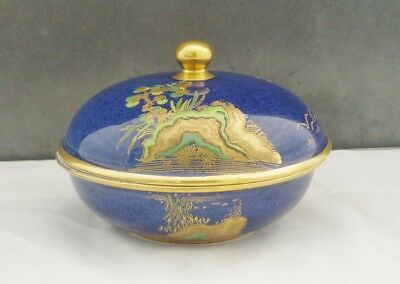 CARLTON WARE ART DECO BLUE MIKADO LIDDED POWDER BOWL 1920s 30s CHINOISERIE
