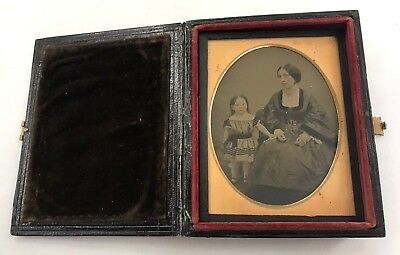 Quarter Plate Daguerreotype Young Mother & Daughter Unique Double Sided Case