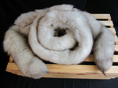 Vintage Beige Gray Fox Fur Stole (690)