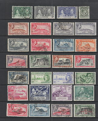Gibraltar KGVI collection, 28 stamps.