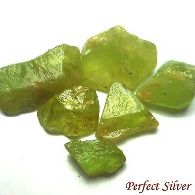 13.65 ct.  6 Pcs. Unheated Natural Mined Green Sphene Titanite Rough @ FREE SHIP