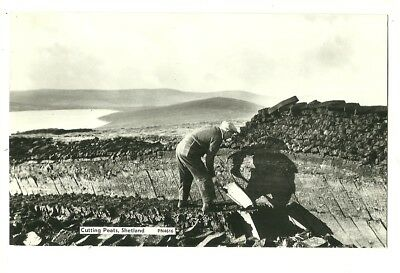 Shetland - a photographic postcard of a peat cutter