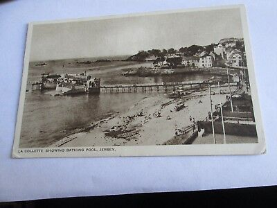 Postcard of La Colette, showing Bathing Pool, Jersey (posted 1951)