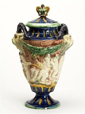 Antique Lidded Majolica Grotesque Horned Head Vase 19Th C.