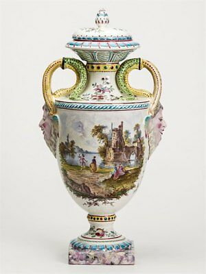 Large Twin Handled French Faience Painted A Clerissy Urn
