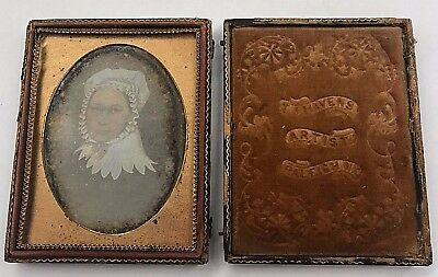 Quarter Plate Daguerreotype of Oil Painted Portrait of Southern Lady Raleigh, NC