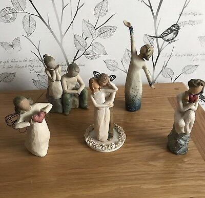 Job Lot Collection Of 5 Willow Tree Figures Pre-owned