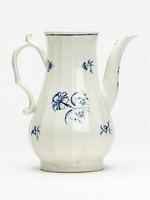 Antique Worcester Blue & White Coffee Pot 18Th C.