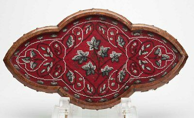 Antique Brass Mounted Walnut Beadwork Tray 19Th C.