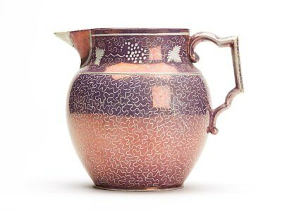 Finely Decorated Antique Pink Lustre Pearlware Jug C.1814