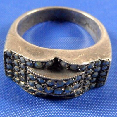 Stunning Art Deco Silver & Marcasite Ring Size K