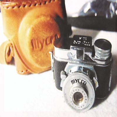 Vtg Camera Mycro Spy Miniature Leather Case Photo Metal Small Hit Una Iiia Film