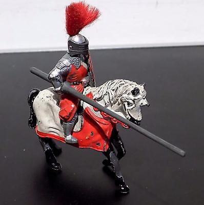 Vintage Painted Lead Red Knight on Horseback, Timpo Toys, England