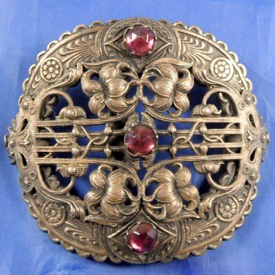 Stunning 1930S Vintage Large Czech Pin Stone Buckle