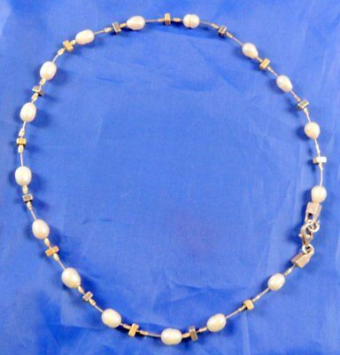 Stunning Unusual Sterling Silver Wired Freshwater Pearl Necklace