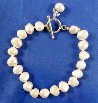 Stunning Sterling Silver Chunky Fresh Water Pearl Bracelet