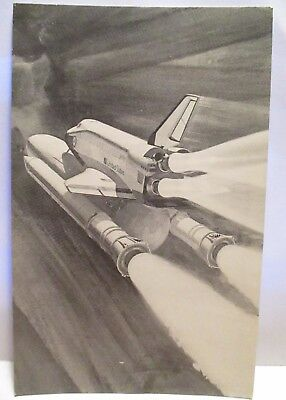 "1981 Nasa Postcard Rockwell Co Artist Conception "" Space Shuttle Launch "" Unused"