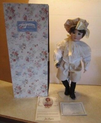"Jan Hagara 18"" Sheldon Porcelain Doll #ed 2/25CE on Neck NM/M w Box C17"