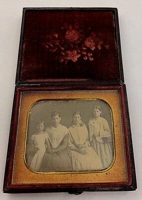 Hand Tinted Cased Sixth Plate Daguerreotype of Four Sisters in Dresses