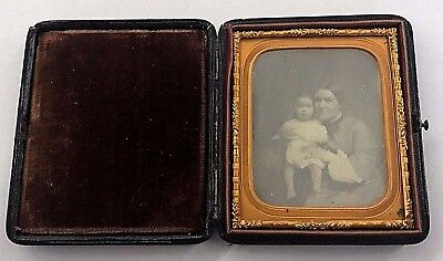 Cased Sixth Plate Daguerreotype of Young Woman & Infant Girl ID'd w/ Provenance