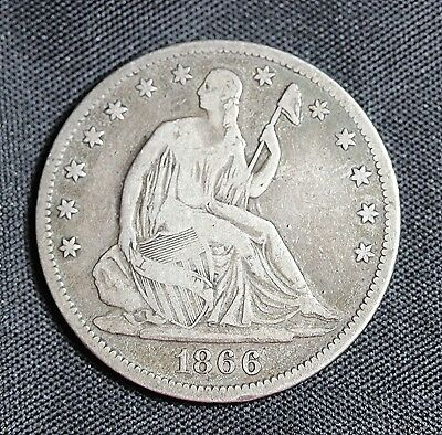 1866 Seated Liberty Half Dollar  with Motto