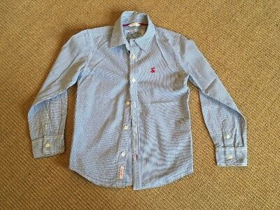 Joules Boys Shirt Age 7 Blue And White Striped Excellent Condition