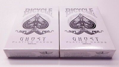 Lot of 2 (sealed) Bicycle Ghost White Deck Playing Cards Ellusionist
