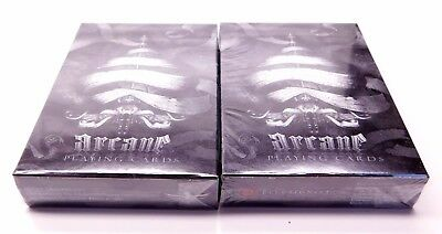 Lot of 2 (sealed) Arcane Black Deck Playing Cards Ellusionist