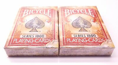 Lot of 2 (sealed) Bicycle 1800 Red Deck Playing Cards Ellusionist