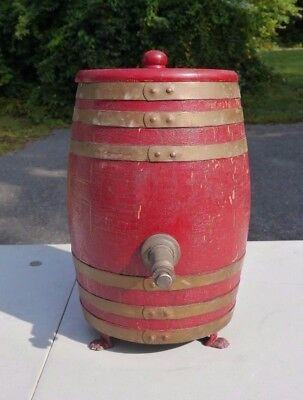 Antique ROCHESTER ROOT BEER SYRUP DISPENSER  Small Oak Barrel with Paw Feet
