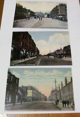 3 CLYDEBANK  Glasgow Road  / Kilbowie Hill /  Road  Postcards
