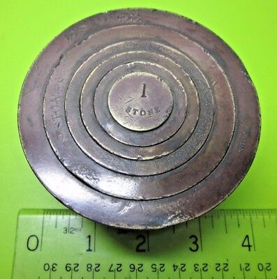 Rare Unusual Old Antique Imperial Stones Measure Brass Nesting Cup Scale Weights