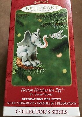 2001 Dr Seuss Horton Hatches The Egg Ornament New NIB Set Of 2 #3 In Series