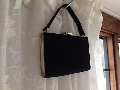 1950's VINTAGE Black Grosgrain EVENING BAG HANDBAG