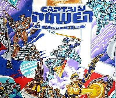 Vtg 80's Captain Power & Soldiers Of Future Twin Size Flat & Fitted Sheet Set