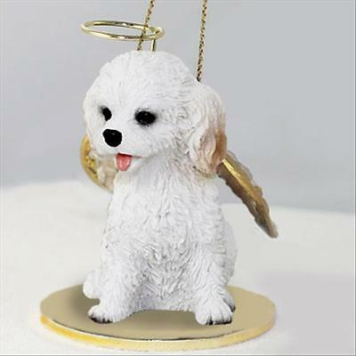Cockapoo White Dog ANGEL Tiny One Ornament Figurine Statue