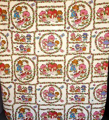 """Vintage 80's Strawberry Shortcake Bed Spread Bedding Cover Size 70 X 100 """""""