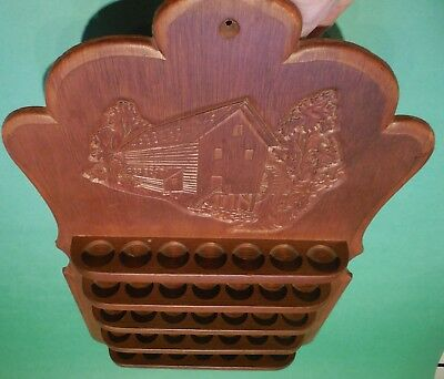 "Vtg Wood Wooden Thimble Stand Shelf Rack Display OLD WATER MILL 35 Curio 16""x10"""