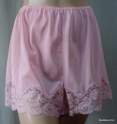 LUX VINTAGE SILKY SHEER SUGAR PINK BRI-NYLON LACE TRIM FRENCH KNICKERS Lg