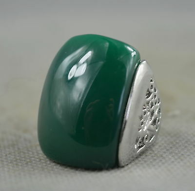 Collection Handwork Decor Miao Silver Carve Flower Inlay Jade Lucky Usable Ring