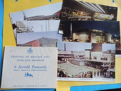 Festival of Britain South Bank Exhibition 1951 6 Jarrold postcards, original pa