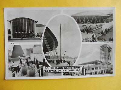 Festival of Britain South Bank Exhibition 1951  multiview postcard , used.
