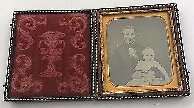 Cased Sixth Plate Daguerreotype of Dapper Gentleman & Infant Girl
